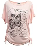 Yidarton Sommer Frauen Bluse weg von der Schulter Short Sleeve Feder Druck Muster Jumper Tops Pullover T-Shirt (XXL/ EU 46-48, Schmetterling-Rosa)