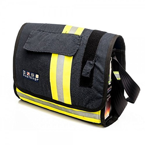Roter Hahn 112 Feuerwehr Umhängetasche/Florian-L/Navy/Handtasche Tasche Reisetasche Tragetasche Bag fireBAG 39 x 29 x 13 cm/Original hupfbags/aus gebrauchter Feuerwehrkleidung