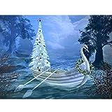 5D Pintura Bricolaje Bricolaje Punto de Cruz Abedul Árbol de Navidad Piedras de Bordar Barco Mosaico Regalo Decoración Para El Hogar, 50X70 CM