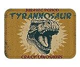RAINNY Doormat Retro Poster Grunge Style Vintage Label with Tyrannosaur Dinosaur Jurassic Fossil Print Fabric Bathroom Decor Set with Hook Long Light Coffee 23.6 W X 15.7 W Inches