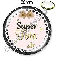 Miroir de poche 56mm Super tata idée cadeau anniversaire noël baptême naissance famille