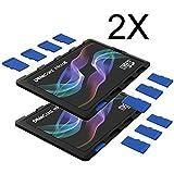 DiMeCard micro8 Porte Cartes Mémoire microSD MULTI-PACK, 2 pièces, VAGUE COULEUR EDITION (Ultrafin, format carte de crédit, étiquette inscriptible)