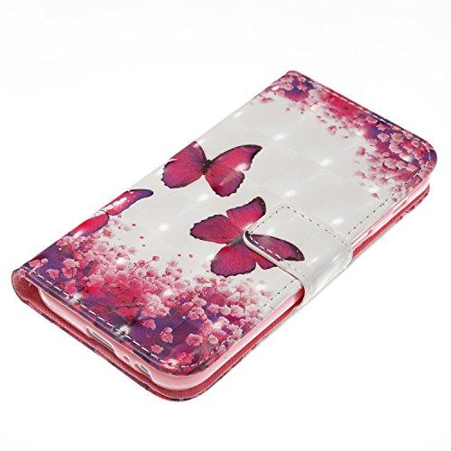 Galaxy A3 2017 Hülle,Grandoin® Handyhülle im Brieftasche-Stil für Samsung Galaxy A3 2017 Handytasche PU Leder Flip Cover 3D Bunte Muster Book Case Schutzhülle mit [aktualisierter TPU Innenschale] [Auf Schmetterling