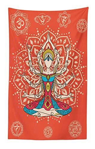 ABAKUHAUS Yoga Wandteppich und Tagesdecke Philosophische Lehre Joga Kulturen ausgeübte spirituelle Praxis Meditation Druckaus Weiches Mikrofaser Stoff 140 x 230 cm Schmutz abweichend Rot und Blaugrün
