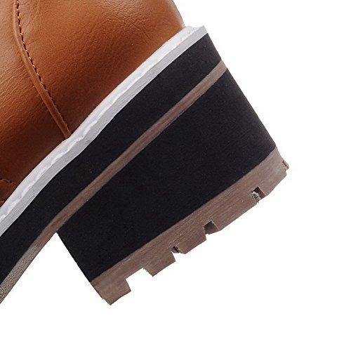 VogueZone009 Femme Lacet à Talon Correct Couleur Unie Rond Chaussures Légeres Jaune