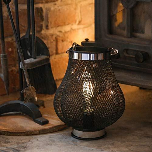 Festliche Lichter für den Innenbereich, batteriebetrieben, Metall-Fadamenteffekt, Edison-Dekoration (Tropfen), Schwarz -