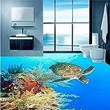 Wandbild Benutzerdefinierte Boden Wandbild Tapete Meeresboden Schildkröte Algen Korallen Badezimmer 3D Boden Malerei Wohnkultur Pvc Selbstklebende Aufkleber Wandbild-400X280CM