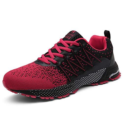 SOLLOMENSI Laufschuhe Damen Herren Sportschuhe Straßenlaufschuhe Sneaker Joggingschuhe Turnschuhe Walkingschuhe Schuhe 37 EU A Rot