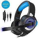 PHOINKAS Gaming Headset für ps4 pc, Xbox One Gaming Kopfhörer, Stereo Gaming Headset mit Mikrofon für PC, Nintendo Switch, Blau -