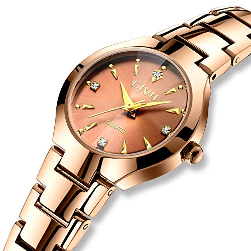 CIVO Relojes para Mujer Reloj Mujers Impermeable Oro Rosa Elegante Banda de  Acero Inoxidable Relojes de 96233aa82863