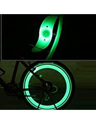 Bicicleta LED luz, 4piezas para rueda de bicicleta luz LED lámpara de advertencia de seguridad, verde