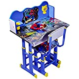 IndusBay Height Adjustable Wooden Spiderman Theme Study Table and Chair for Kids