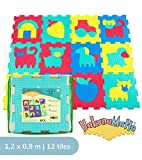 Foam Play Mat for Babies and Children | 12 EVA Foam Floor Tiles with Farm Theme in a Storage Bag | +20% Thicker and Softer Puzzle Mat for Crawling and Learning | 100% Safe, Non-toxic, Odorless