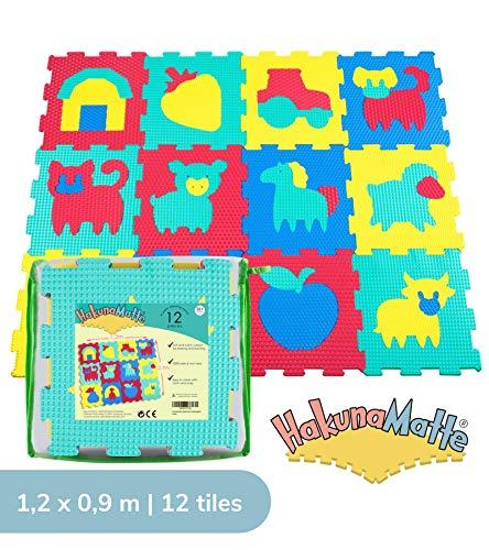 Hakuna Matte Puzzlematte für Babys und Kinder   12 Schaumstoffplatten mit Bauernhofmotiv in einer Aufbewahrungstasche   +20% dickere, weichere Spielmatte   Schadstofffrei TÜV EN71 und Formamid geprüft
