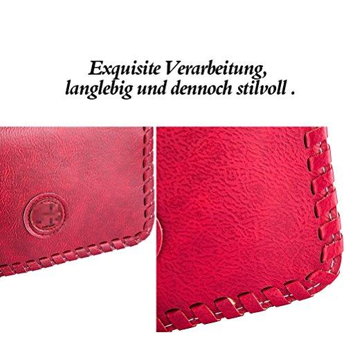 Honeymall Borsa a tracolla donna Clutch Elegante Portafoglio Multifunzionale per Donna Marrone Vino