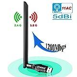 ANEWKODI 1200Mbps USB WiFi Adaptador WiFi Antena con USB 3.0 USB Wireless Adaptador con 5DBI Banda Doble...