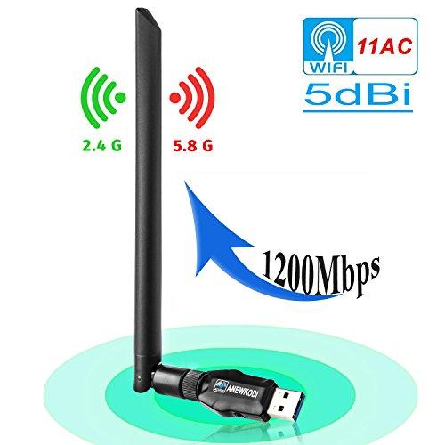 ANEWKODI 1200Mbps USB Adaptador WiFi Antena con USB 3.0 USB Wireless Adaptador con 5DBI Banda Doble 2.4GHz/5.8GHz Receptor Dongle WiFi para Desktop/Laptop/ PC, Windows 10/8.1/8/7 XP, Mac OS