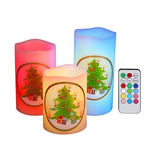 Turnraise set di 3 candele a led fatte in cera reale design motivo albero di natale con senza fiamma (3pcs-albero di natale)
