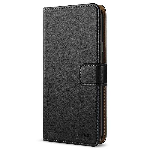 HOOMIL LG Q6 Hülle Leder Flip Case Handyhülle für LG Q6 Tasche Brieftasche Schutzhülle - Schwarz (H3278)
