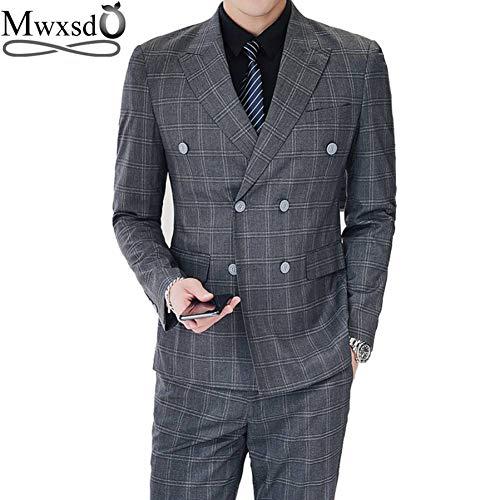 GFRBJK Men Striped Plaid Suits Set 3-teilig (Blazer + Weste + Hose) Men Formal Double Breasted Suit Blazer Jacke Für Hochzeitsteil , Grau , XL -