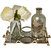 Maison Des Cadeaux New Decorative Metal Square Scroll Serving/Dressing Table Tray With Mirror Glass Base