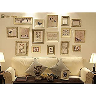 16 Multi Picture Frame Set, Photo Frame, Wall Frame Set with 16 High Quality Frames, Large photo frame wall set, Covers 1.08m x 2.05m, Best Wall Decorations, Vintage Picture Frames