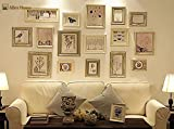 Set di 16 Cornici Multi Immagine, Set di Cornici da Muro con 16 Cornici di Alta Qualità, Grande set di cornici da muro per foto, Migliori Decorazioni da Muro, Cornici Fotografiche Vintage