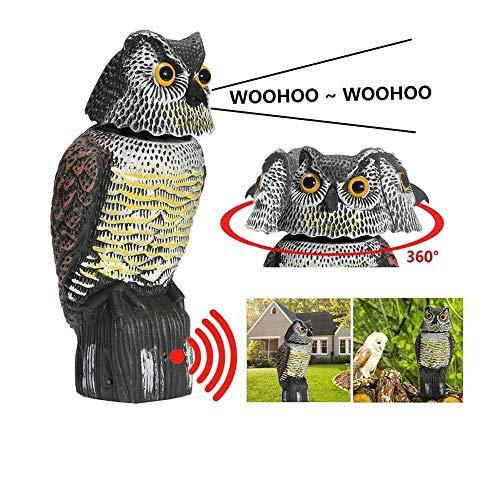 BriskyM Vogelschreck - Vogelscheuche Eule, 360 Drehen Sie den Kopf, um Vögel zu erschrecken, realistische schreckliche Geräusche und Schatten-Fake-Eulen-Insekten im Freien abschreckendes Dekor