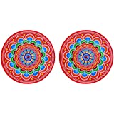 DollsofIndia Pair Of Rangoli Stickers - Dia - 9 Inches Each (RW93)