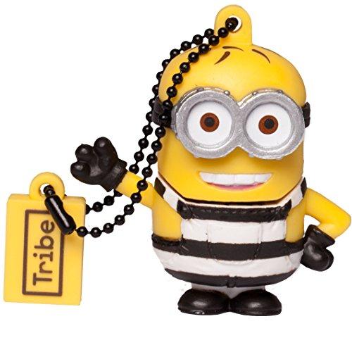 Tribe minions cattivissimo me phil minion carcerato chiavetta usb da 16 gb pendrive memoria usb flash drive 2.0 memory stick, idee regalo originali, figurine 3d, usb gadget con portachiavi