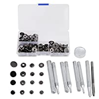 40 Sets Snap Button, Metal Popper Button Press Studs Fastener Jeans Accessories Leather Craft Tool with Storage Box (Black)