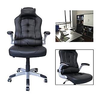 HG® silla giratoria de oficina silla de juego confort superior reposabrazos tapizados silla de carreras capacidad de carga 200 kg altura ajustable negro