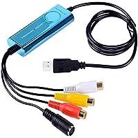 Top-Longer VHS a DVD Adaptador Capturadora de Video / Audio Convertir / Capturadora Video USB/Grabadora DVD USB / USB Video Capture para Windows y Mac OS -Azul