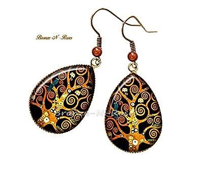"""Boucles d'oreilles gouttes """" Arbre de vie """" cabochon bronze pendant Gustav Klimt reproduction verre"""