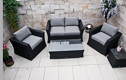 PolyRattan Lounge Set DEUTSCHE MARKE -- EIGNENE PRODUKTION 8 Jahre GARANTIE auf UV-Beständigkeit Garten Möbel incl. Glas und Polster Ragnarök-Möbeldesign (schwarz) Gartenmöbel