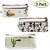 Ipow doppia cerniera matita astuccio, lovely cactus custodia tela borsetta in sacchetti di trucco per cosmetici, monete, piccoli oggetti, chiavi, set di 3
