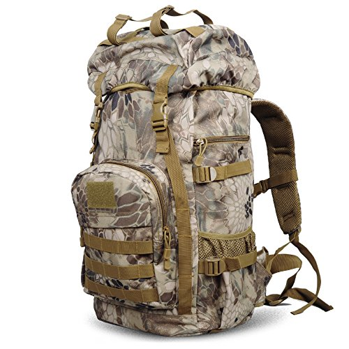 GOUQIN Outdoor Rucksack Klassische Mode Outdoor Rucksack Klettern Taschen Schultern Wasserdicht Hohe Kapazität 50 L Sport Case Rucksack Der Dschungel Leinwand matt