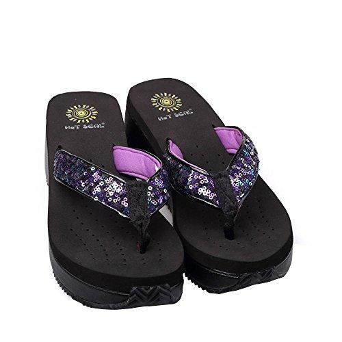 Scarpe Donna PVC EVA Casual Zeppa infradito pantofole all'aperto Altri colori disponibili Black