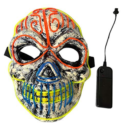 Kostüm Für Jugendliche Scary - Eliky Halloween Scary Maske EL Draht LED Leuchten Kostüm Tod Schädel Geist Kürbis Cosplay Festival Party Dekoration Requisiten