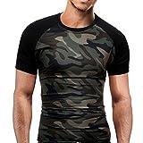 Herren Shirts,Frashing Männer Slim T-Shirt Militär Camouflage O-Neck Kurzarm T-Stücke Herrenhemden T-Shirt Poloshirt Kurzarmlig Kurzarmshirt (L, Camouflage)