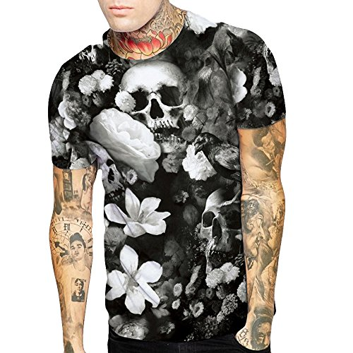 Pareja Hombre y Mujer Manga Corta Camisas Cabeza de cráneo Cabeza impresión  Digital Cuello Redondo Camiseta Top Casual 3D T-Shirt Oficina Tank ... 409b2f938c4