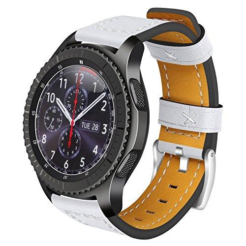 Für Samsung Gear S3 Frontier Armband Leder, AISPORTS 22mm Samsung Gear S3 Classic Uhrenarmband Leder Smart Watch Ersatz Uhrenarmbänder Armbänder für Samsung Gear S3 Frontier/Classic - Weiß (Sprint-smart Watch)
