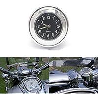 "ViZe 7/8"" 22mm Motorrad Uhren Lenkeruhren Zifferblatt Uhr Tick Tock für Harley Davidson Suzuki Kawasaki Honda Yamaha Motiv Silber"