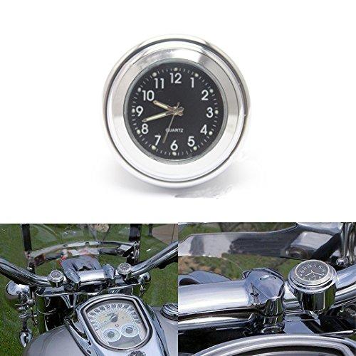 "ViZe 7/8\"" 22mm Motorrad Uhren Lenkeruhren Zifferblatt Uhr Tick Tock für Harley Davidson Suzuki Kawasaki Honda Yamaha Motiv Silber"