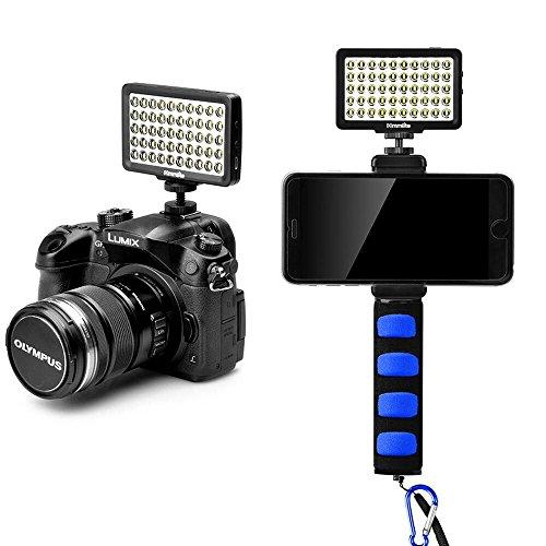 Commlite CM-L50II dimmbar Kamera LED Video-Licht, Rechargeble Universal Mini Kamera Licht für Smartphone, Canon, Nikon, Panasonic, Sony, Samsung und Olympus Cameras(Black)(Blue Handheld Grip) Low-light-kamera-set