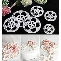 Juego de 6 moldes cortadores de galletas con diseño de rosas perfectas para decorar pasta de