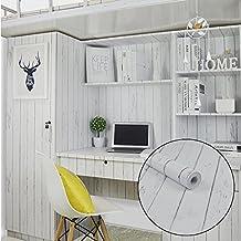 SimpleLife4U blanco grano de madera papel de contacto Nordic estilo autoadhesivo estante maletero taquilla adhesivo 17,7cm, de 9.8pies
