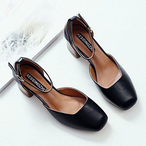 Chaussure Shaoge Femmes S Chaussures Étudiants Un Mot Fibbia Chaussures De Printemps Femme Rétro Carré Talon Tête Sandali Par Donna Couleur Unie