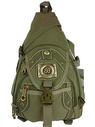 BABYFISH Denim Rucksack, 1 Träger, crossbag, daypack ca. 22 Liter, 45 x 30 x 18 cm (grün khaki)