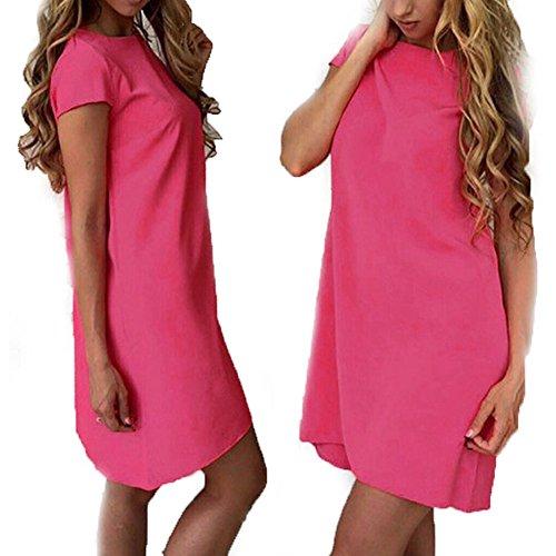 Efanr Damen Schlauch Kleid Gr. L, rosarot